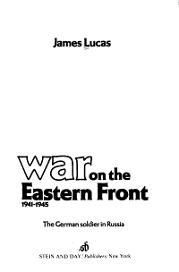 War on the Eastern Front  1941 1945 PDF