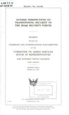Outside Perspectives on Transitioning Security to the Iraqi Security Forces PDF