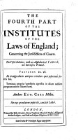 The Fourth Part of the Institutes of the Laws of England     The Fifth Edition  Etc   With a Portrait   PDF