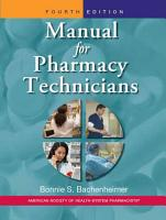 Manual for Pharmacy Technicians PDF