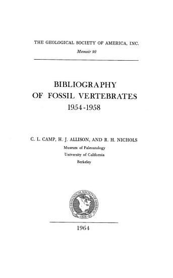 Bibliography of Fossil Vertebrates 1954 1958 PDF