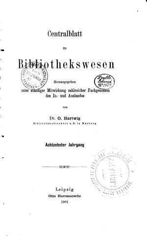 Centralblatt f  r Bibliothekswesen PDF