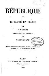 République et royauté en Italie: Volume1