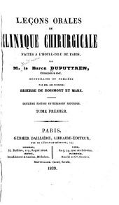 Leçons orales de clinique chirurgicale faites à l'Hôtel-Dieu de Paris: Volume1