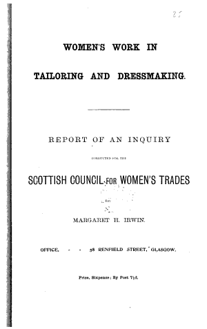 Women s Work in Tailoring and Dressmaking