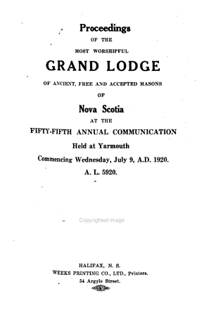 Proceedings     of the Grand Lodge of the Most Ancient and Honorable Order of Free and Accepted Masons of Nova Scotia     PDF