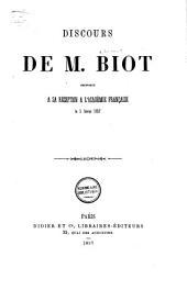 Discours prononcé à sa réception à l'Académie française le 5 février 1857