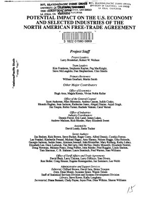 Potential Impact on the U S  Economy and Selected Industries of the North American Free Trade Agreement PDF