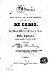 Memorias para la Biografia y para la Bibliografía de la Isla de Cádiz