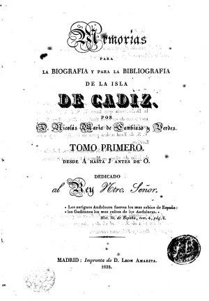 Memorias para la Biografia y para la Bibliograf  a de la Isla de C  diz PDF