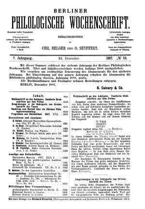 Berliner philologische Wochenschrift PDF