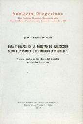 Papa y obispos en la potestad de jurisdicción según el pensamiento de Francisco de Vitoria