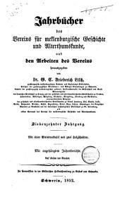 Jahrbücher des Vereins für Meklenburgische Geschichte und Altertumskunde: Band 18