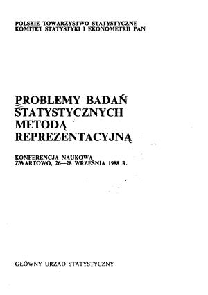 Problemy bada   statystycznych metod   reprezentacyjn   PDF