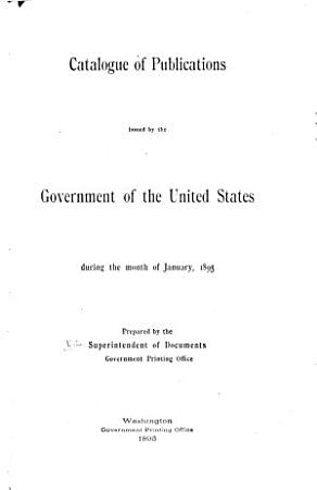 Catalogue of Publications Issued by the Government of the United States During the Month of     PDF