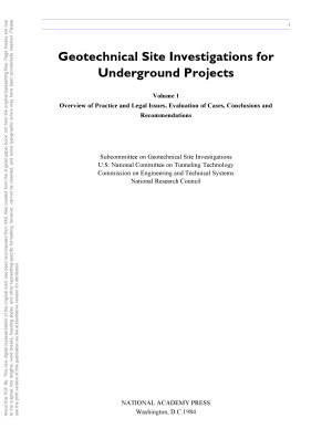Geotechnical Site Investigations for Underground Projects