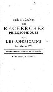 Dépeuse des recherches philosophiques sur les Américains