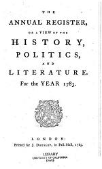 The Annual Register, Or, A View of the History, Politics, and Literature for the Year ...