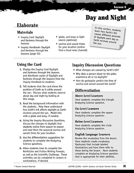Earth Systems And Cycles Inquiry Card Daylight And Darkness Through The Seasons