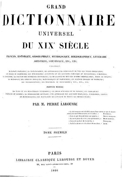 Download Grand Dictionnaire Universel  du XIXe Siecle  Francais  A Z 1805 76 Book