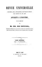 Revue universelle des mines, de la metallurgie, des travaux publics, des sciences et des arts appliqués à l'industrie: Volume12