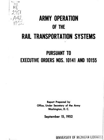 Army Operation of the Rail Transportation Systems PDF