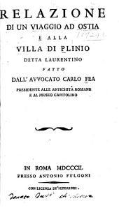 Relazione di un viaggio ad Ostia e alla villa Plinio detta Laurentio