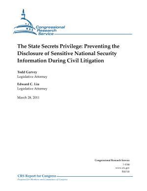 State Secrets Privilege  Preventing the Disclosure of Sensitive National Security Information During Civil Litigation PDF