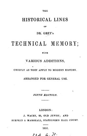 The historical lines of dr  Grey s Technical memory