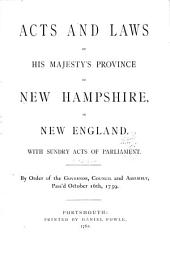Acts and Laws of His Majesty's Province of New Hampshire in New England
