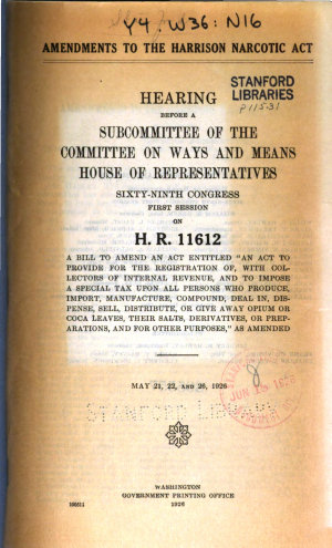 Amendments to the Harrison Narcotic Act