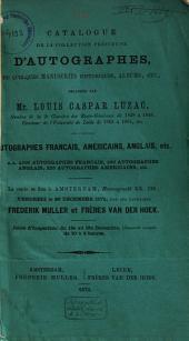 Veilingcatalogus, boeken van Louis Caspar Luzac, 20 december 1872