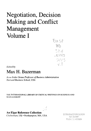 Negotiation  Decision Making and Conflict Management PDF