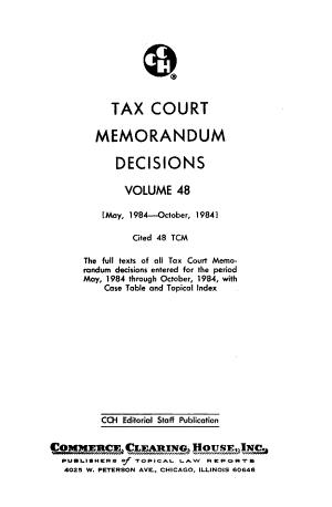 Tax Court Memorandum Decisions