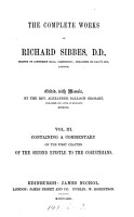 The complete works of Richard Sibbes  ed  with mem  by A B  Grosart PDF