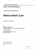 2000 Case Supplement to Cases and Materials on Employment Law PDF