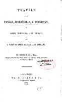 Travels in the Panjab  Afghanistan  and Turkistan  to Balk  Bokhara  and Herat PDF