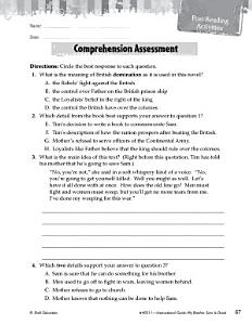 My Brother Sam Is Dead Comprehension Assessment Book