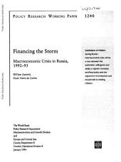 Financing the Storm: Macroeconomic Crisis in Russia, 1992-93