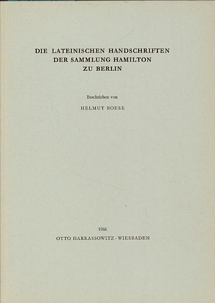 Die lateinischen Handschriften der Sammlung Hamilton zu Berlin PDF
