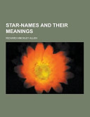 Star Names and Their Meanings PDF
