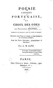 Poésie lyrique portugaise: ou Choix des odes de Francisco Manoel