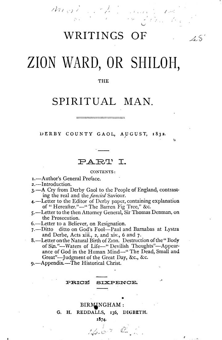 The doctrine of Zion, derived from divinity revealed in humanity, by ... visitation of God to John Ward [ed. by C.B. Holinsworth].