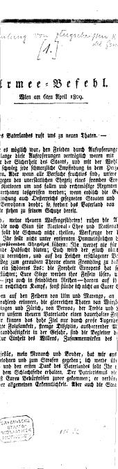 Armee-Befehl: Wien am 6. April 1809