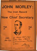 John Morley  the Irish record of the new chief secretary PDF