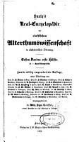 Paulys Real Encyclop  die der classischen Altertumswissenschaft in alphabetischer Ordnung PDF