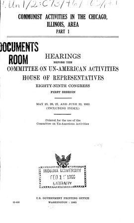 Communist Activities in the Chicago  Illinois Area PDF