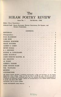 The Hiram Poetry Review