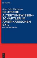 Deutsche Altertumswissenschaftler im amerikanischen Exil PDF