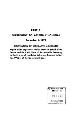 Journal of the Assembly  Legislature of the State of California